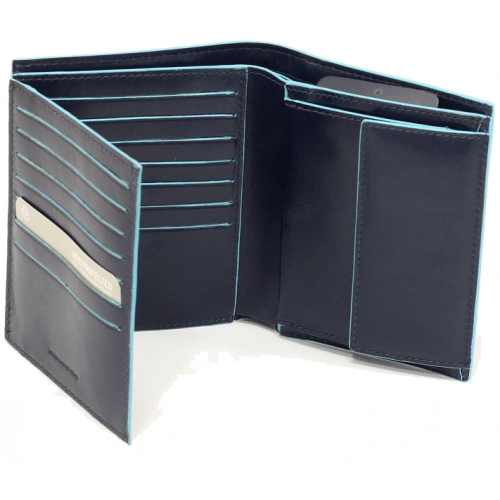BL SQUARE/N.Blue Портмоне верт. с отдел. для монет та 14 кред.карт с RFID защитой (10x12x3)