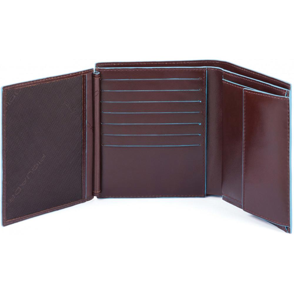 BL SQUARE/Cognac Портмоне верт. с отдел. для монет та 14 кред.карт с RFID защитой (10x12x3)