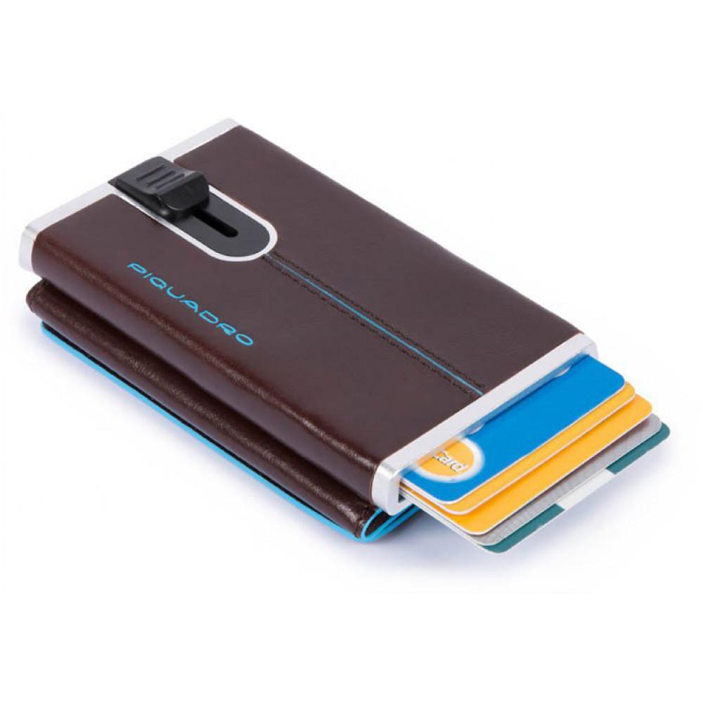 BL SQUARE/Cognac Кредитница-портмоне с выдвижным механизмом с RFID защитой (6,2x10,5x2)