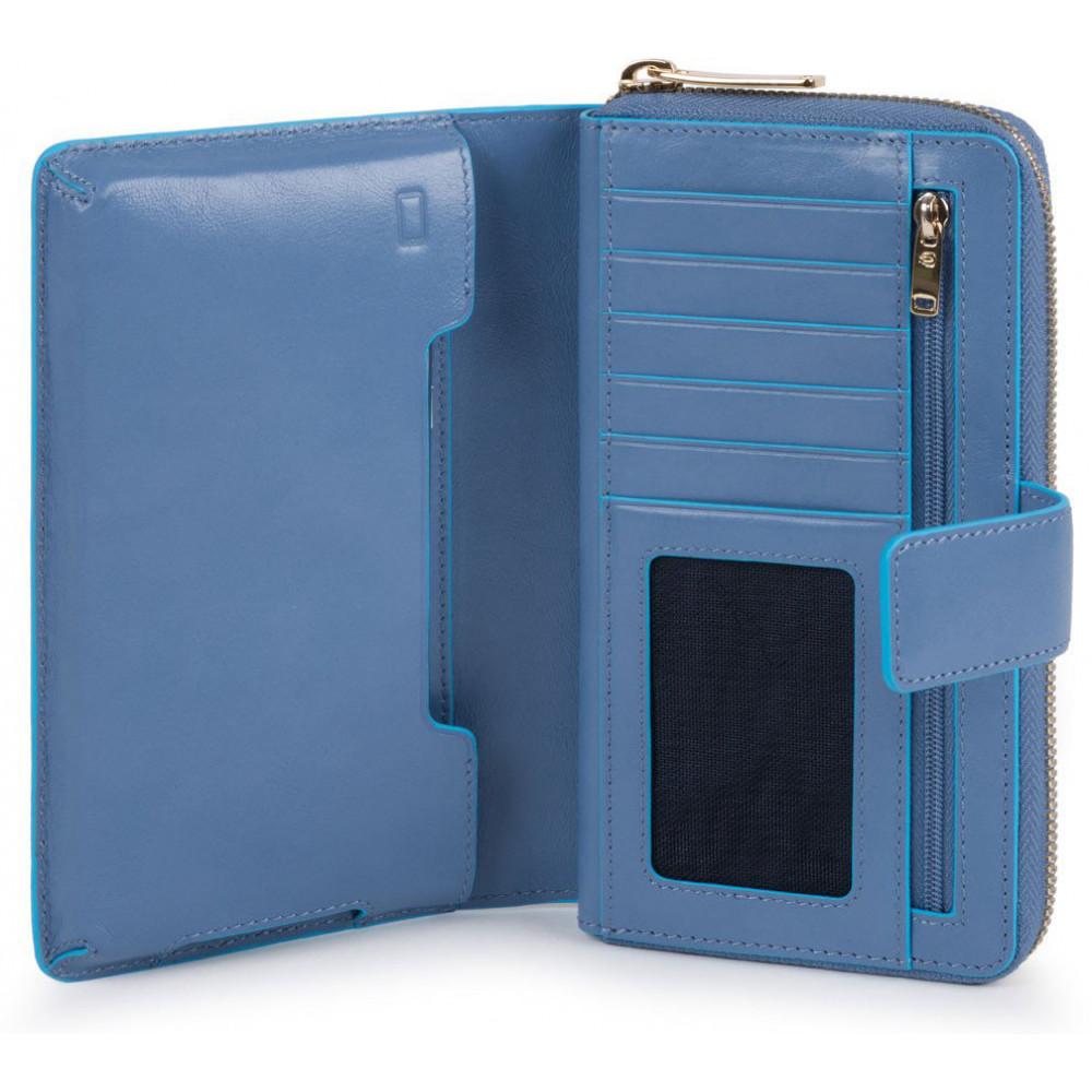 BL SQUARE/P.Blue Портмоне верт. карман для монет на молнии с RFID защитой (10x17,5x3)